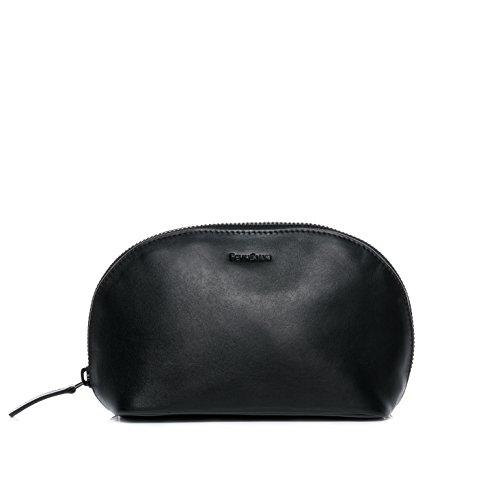 FEYNSINN® borsa toiletry vera pelle KARLI borsetta necessaire Toilette pochette beauty case da Viaggio donna nero