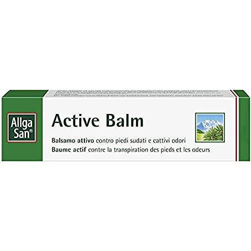 Crema piedi antiodore. Deodorante piedi. Balsamo attivo contro piedi sudati e cattivi odori. AllgaSan Active Balm 50ml
