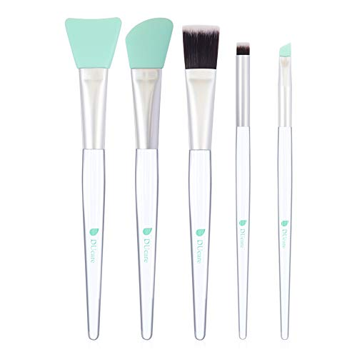 DUcare Pennello Maschera Viso 5 Pcs Applicatori Cosmetici in Silicone, Spazzole per applicazione facciale e app applicaziine maschera per occhi