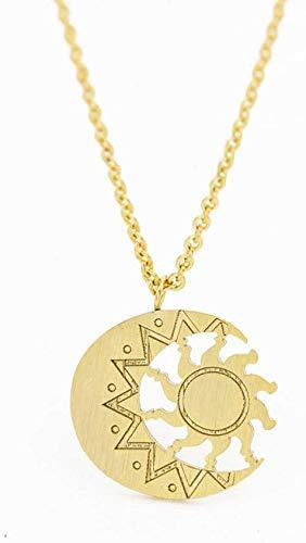 Urn Collana con Medaglione Pendente Collana con Pendente for Antique Luna e la Collana delle Donne del Sole dei monili di Fascino dell'Acciaio Inossidabile di Modo Astrologia Collana Tatuaggio