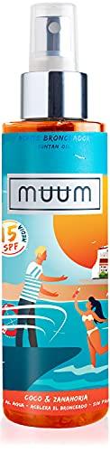 muum - Olio abbronzante al cocco e carota SPF15 - Acceleratore di abbronzatura con antiossidanti naturali, idrata e previene macchie e rughe - Abbronzatura intensa e naturale - 150ml.