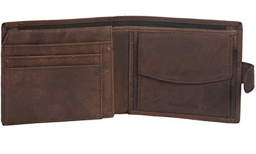 Amazon Brand - Eono Portafoglio in pelle per uomo e donna - design piatto con funzione di protezione lettura RFID (Pelle di vacchetta nappa marrone) (Pelle marrone effetto vintage/usato)