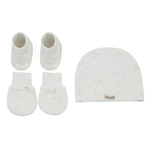 3 Pari Newborn Baby Cappellino e Muffole e Calze Set 0-12 mesi grigio. 0-12 mesi