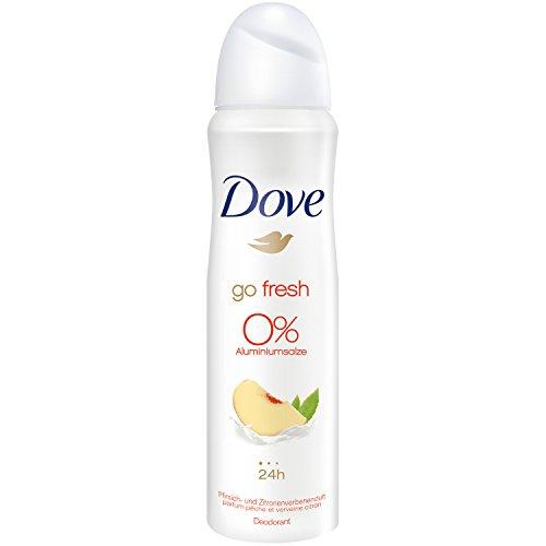 Dove Deo Spray Go Fresh Profumo pesca e limone-verbena, 0% sali di alluminio, confezione da 6 (6 X 150 ml)