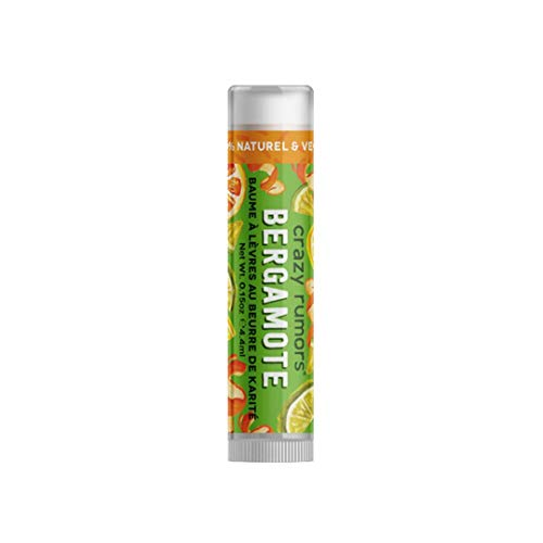 Crazy Rumors - Balsamo per labbra al bergamotto, 100% naturale, vegano