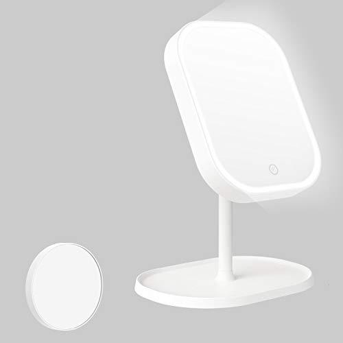 Kasimir Specchio da Trucco con Luce LED Specchio Cosmetico Illuminato Portatile Specchio Makeup Professionale Touch Screen per Trucco Camera da Letto Rasatura e Viaggio - Bianco