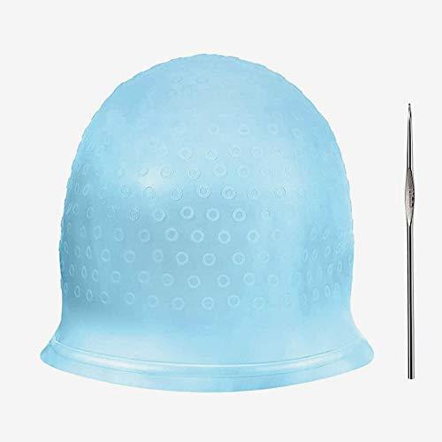 Cappello Colorante per Capelli, Cuffia Per Capelli Per Meches, Cuffia in Silicone per Meches con Uncinetto Silicone Riutilizzabile Capelli Evidenziazione Cap per Uomo Donna Colorazione dei Capelli blu