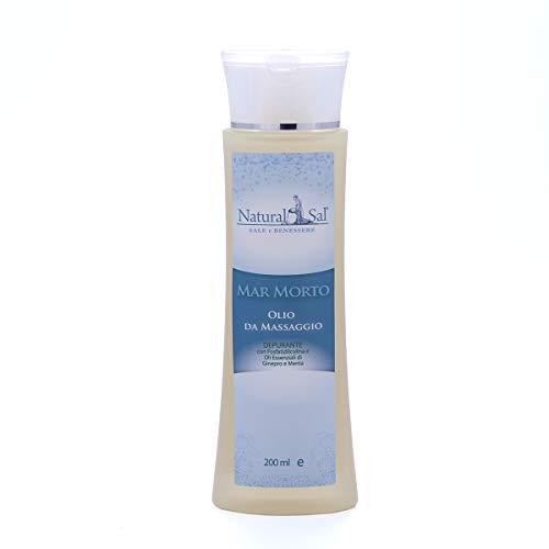 NATURALSAL Olio da Massaggio Vegetale con Sale del Mar Morto Depurante con Fosfatidilcolina e Oli Essenziali di Ginepro e Menta 100% Naturale Speciale Cellulite e Adipe 200 ml