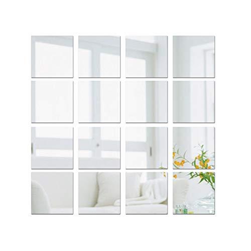 JNCH (15 * 15cm) 16pz Adesivo Specchio Quadrato Decorazione per Parete Muro Casa Armadio