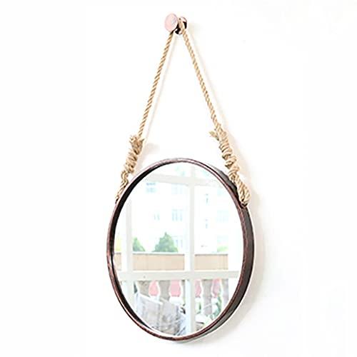 Lattice Specchi da bagno Specchio rotondo da appendere con corda di canapa, specchio da bagno a parete, specchio cosmetico rotondo {Bronzo, 70CM}