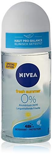 Nivea Deo Roll On Fresh Summer (50 ml), deodorante senza alluminio (ACH) con protezione deodorante 48 ore, deodorante estivo per una freschezza duratura