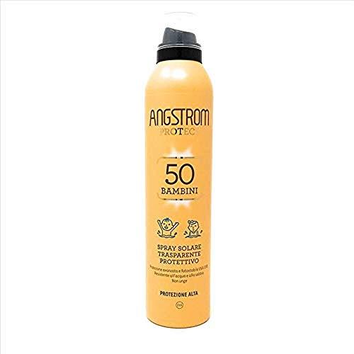 Angstrom Protect Spray Solare Trasparente, Protezione Corpo 50+ ed Intensificatore dell'Abbronzatura, Anche su Pelle Bagnata, 150 ml