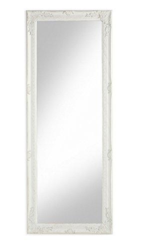 MONTEMAGGI Specchio da Parete con Cornice Rettangolare in Legno Bianco Anticato 55x142 cm