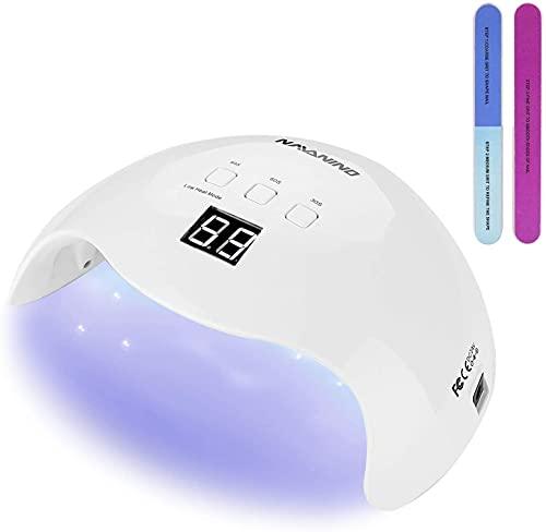 NAVANINO Lampada UV LED, Fornetto Unghie, Può Curare Rapidamente i Raggi UV Gel gel Costruttore/LED 48W Potenza Massima Viene Fornito con 2 Bastone Per Levigatura Timer Preimpostati (30s,60s,99s)