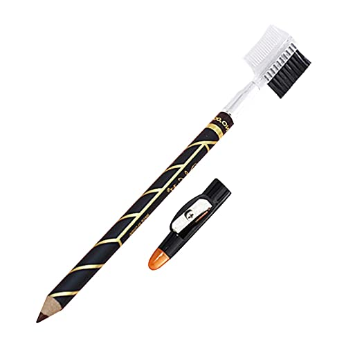 KUNMEI Matita per Sopracciglia 2 in 1 con temperino Incorporato, matite per Barba, Penna per Modellare l'attaccatura dei Capelli, Guida per Barba e Riga