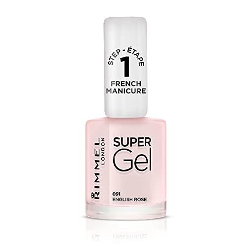 Rimmel London Smalto Unghie Super Gel French Manicure, Nail Polish Effetto Gel a Lunga Durata, 091 English Rose, 12 ml