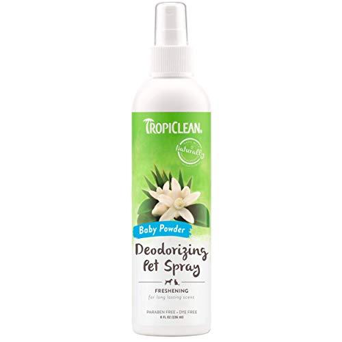 Tropiclean Deodorante Spray per Animali Domestici, Cani & Gatti - Profumo Che Dura a Lungo - Senza Parabeni e Coloranti - Borotalco, 236 ml