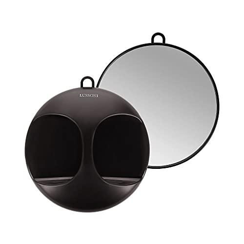 T4B LUSSONI Specchio rotondo professionale per salone, parrucchiere, barbiere, estetista, makeup artist, per uso taglio e styling, nero, pratico, portatile o da appendere, leggero, diametro 29 cm