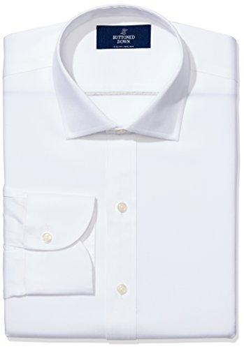 Marchio Amazon - BUTTONED DOWN, camicia elegante da uomo, classica, slim fit, colletto con bottoni, tinta unita, in cotone Supima, non necessita di stiratura, Bianco (White), 15.5' Collo 34' Manica