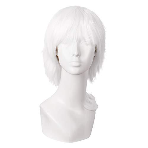 MapofBeauty 14'/35cm Corto Lisci Uomo Cosplay Corto Parrucche (Bianco)