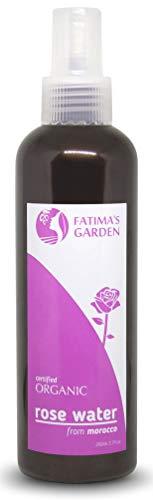 Tonico all'acqua di rosa spray di Fatima's Garden, Certificato 100% organico ECOCERT e USDA, Tonico all'acqua di rosa per viso, corpo e capelli - idratante e tonificante, Vegano-300ml