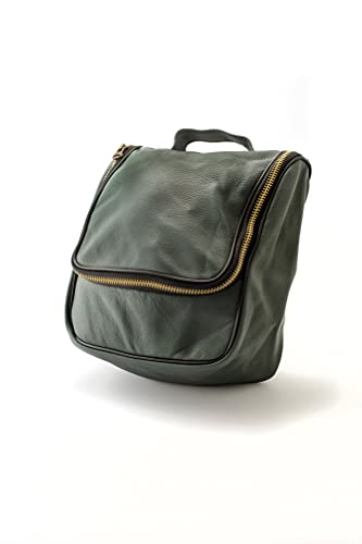 Epsilon Beauty Case in Pelle con Gancio Verde Militare, Standard, Unico