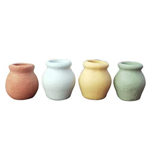 Frolada Mini Vasi di Fiori Dollhouse Decor 4Pcs / Set Mini Simulazione Flower Pot Jar Pretend Game Toy Model Giallo + Verde + Azzurro + Marrone
