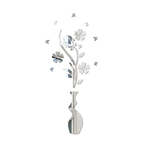 Adesivo da Parete in Acrilico 3D Adesivo Specchio Fiore e Vaso Adesivo Ecologico per Camera da Letto Salotto Arredo Bagno (Argento)