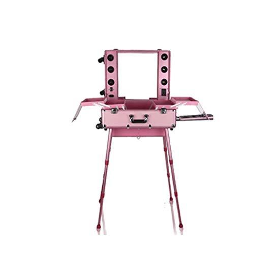 Con la lampadina porta il caso cosmetico del carrello di professione di sostegno, la scatola leggera di grande capacità, bellezza con il caso del carrello di trucco di trucco (colore : Pink)