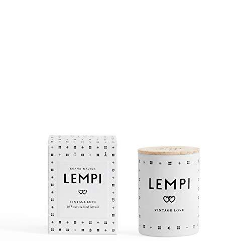 Skandinavisk Lempi (Love) Mini candela profumata con coperchio inciso in legno di faggio 55g