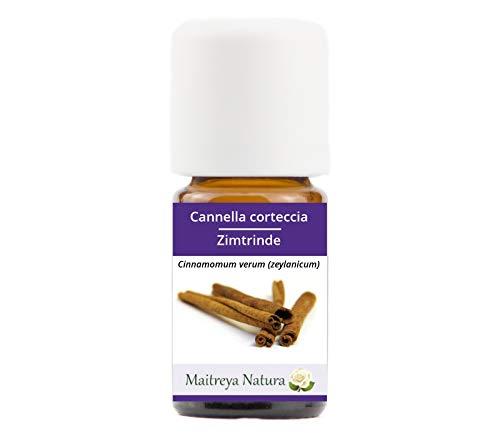 Maitreya Natura Olio Essenziale biologico CANNELLA CORTECCIA, 100% puro e naturale, 5ml - aromaterapia, diffusore, massaggio, cosmetica - qualità controllata e certificata, vegan