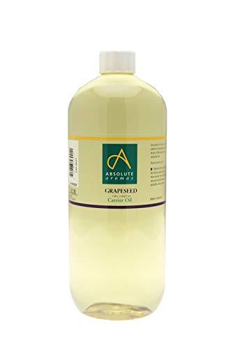 Absolute Aromas Olio di Semi d'Uva 1L - Puro, Naturale, Spremuto a freddo, Cruelty Free, Vegano, Senza OGM - Olio base per Massaggi e Idratante Naturale per Pelle, Capelli e Unghie (1L)