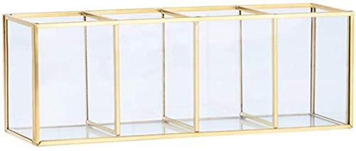 XIAOGINGV Cosmetic Storage Box, Trucco Golden Glass Brush Bagagli Barrel Penna Supporto della Striscia di Rame di Vetro Stoccaggio Caso Golden Glass (Color : 4)