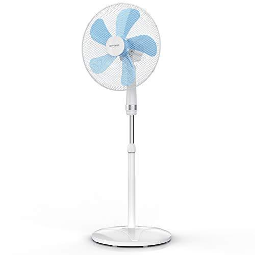 Brandson - NUOVO Ventilatore a piantana EXTRA SILENCE da 50 W - 40 cm diametro - altezza e inclinazione regolabili - 3 velocità - oscillazione 80° - 49 dB - OFFERTA LANCIO ESTATE 2021 - Bianco