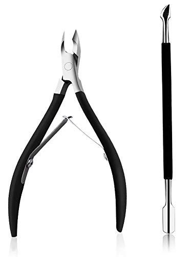 XGzhsa Tronchesi per cuticole professionali, Taglia unghie, Tagliaunghie con lama affilata e liscia per unghie spesse e set di strumenti per unghie incarnite, con spingi cuticola (2 pezzi, nero)