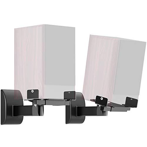 BONTEC Staffa per montaggio a parete dell'altoparlante da scaffale laterale per il suono surround (1 paio nero)