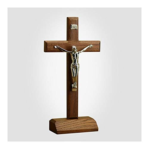 XYBB Chiesa di Legno Solido Croce Gesù Cristo crocifisso sulla casa della mensola Tavolo Tatuaggi Chiesa cattolica 29 Regalo Cm (Color : 1)