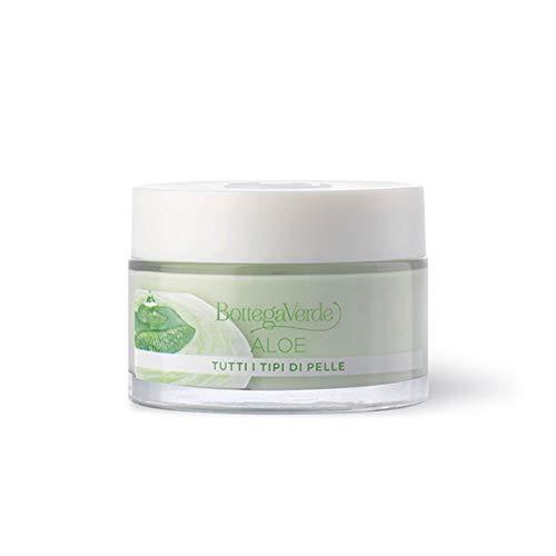 Bottega Verde, Aloe - Crema viso 24 ore - idratante, lenitiva, illuminante - con 30% succo di Aloe* bio (50 ml) per tutti i tipi di pelle