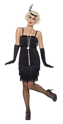 Smiffys Costume Flapper, Nero, Abito corto, Fascia per capelli e guanti, S (EU 36 - 38)