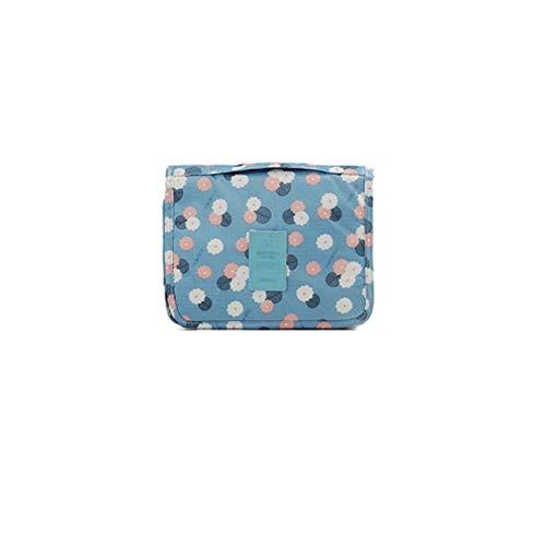 Toiletry Bags impermeabile, Kit da viaggio Organizer porta trucchi-Borsa trousse da viaggio con gancio-Fiore Blu