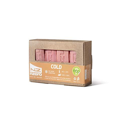 NZEROWAX - Blocco di sciolina Organica Cold - Pink, 200g (4x50g) | Sciolina vegetale Ecologica per Neve asciutta, 4ºC / -12ºC, per Sci