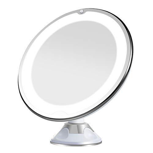 Aphrodite Specchio bagno Trucco Portatile con ingrandimento 10 X, Luce LED, Potente Ventosa, Rotazione 360 °, Specchio Pieghevole Paio