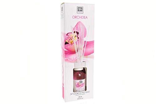 GIRM® - ME16576 Diffusore d'Essenza con Bastoncini in Cotone Aroma Orchidea ml 125