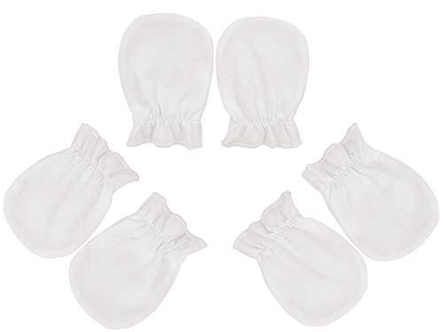 EkaBo Baby –Muffole neonati- Set di guanti antigraffio per bambini – Guantini in cotone per ragazze e ragazzi – Anti-scratch mittens- Made in EU (3 paia: bianco)