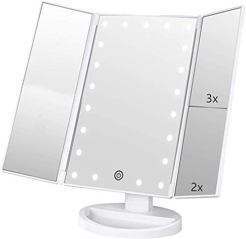 Infitrans Specchio con Luce,Specchi da Tavolo con Touch Screen Tri-Fold, ingrandimento 1x / 2X / 3X e Caricatore USB o Wireless, Luce LED Regolabile a 180 ° per Il banco da Viaggio (Bianca)