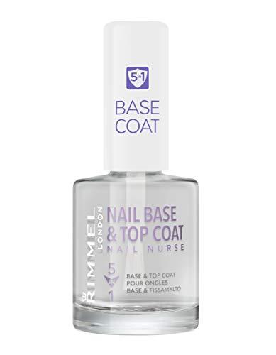 Rimmel London Nail Base e Top Coat Trasparente 5 in 1 per Smalto Unghie, Rinforzante. Levigante. Fissante. Protettivo. Pro-Crescita, 12 ml