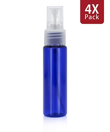 MyGadget Set di 4 Bottigliette Spray Vuote in Plastica - Flaconcini Vuoti - Contenitori Riutilizzabili per Profumi Oli Essenziali Struccante - 30 ml