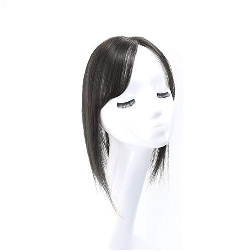 Capelli umani diritti con frangia clip in un pezzo unico invisibile Hairpieces topper per capelli diradamento 3D frangia base di seta marrone scuro