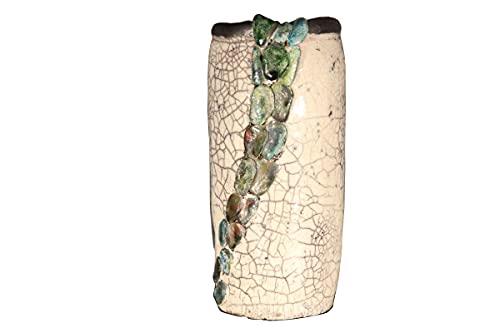 Vaso raku in ceramica artistica forma cilindrica con decorazione a sassolini e smalti colorati