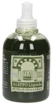 TEA NATURA Sapone di Aleppo Liquido Olio di Alloro 25% - Antisettico - Senza conservanti - Lenitivo - Idratante - Emolliente - 300 ml